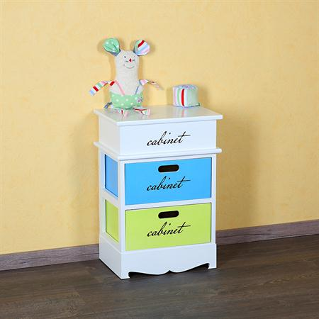 Patchwork Style Dresser with 2 Drawers Rack Children's Room Baby Multicoloured