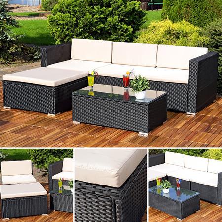 polyrattan lounge gartengarnitur sofa schwarz. Black Bedroom Furniture Sets. Home Design Ideas
