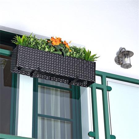 Rattan Flower Box Balcony Trough Polyrattan Plant Pots Plant Inserts Black