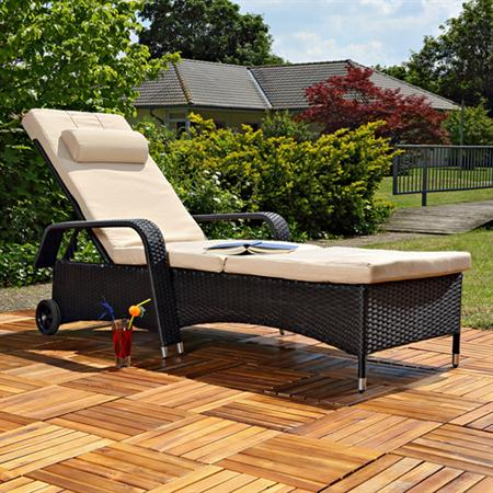 Rattan Sun Lounger Adjustable Garden Furniture Sunbed Wicker Polyrattan Black