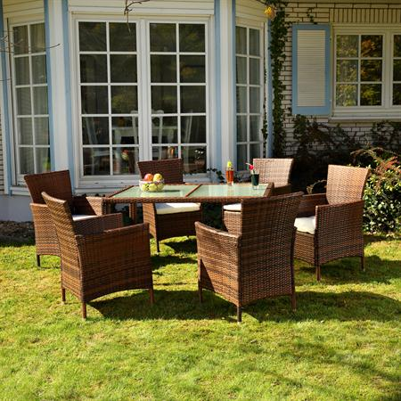 Polyrattan Garden Furniture Garden Set in Brown / Black 13 Parts