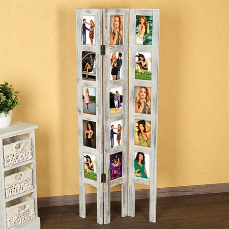 15 Photos Picture Gallery Room Divider made of Wood Shabby Chic White Frame