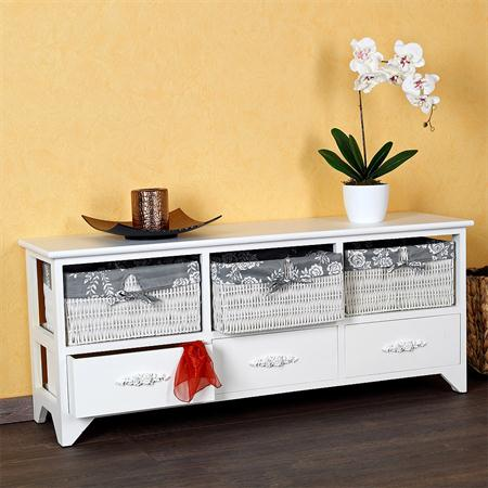 Country House Commode Cabinet Sideboard Hall Bath Shelf White 3 Baskkets Grey