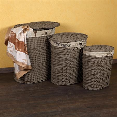 SET of 3 Hamper Laundry Basket Clothes Linen Bin Washing Container Round Brown