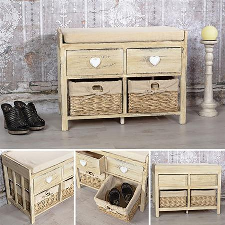 sitzbank shabby beige mit 2 k rben und schubladen. Black Bedroom Furniture Sets. Home Design Ideas