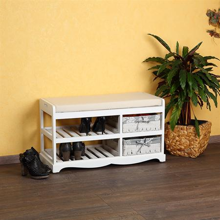 Shoe Cabinet Bench with Baskets Wood Cushions Bench Shoe Rack White Settle