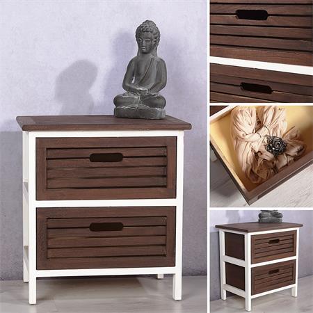 Nachtkommode 2 Schubladen Holz dunkelbraun/weiß