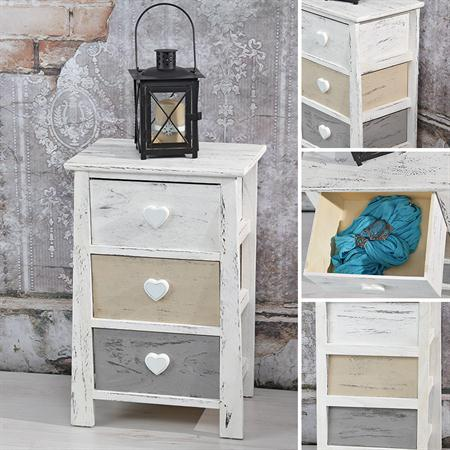 regal mit 3 schubf chern shabby grau braun wei. Black Bedroom Furniture Sets. Home Design Ideas
