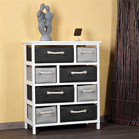 kommode schrank weiss inkl 8 koerbe. Black Bedroom Furniture Sets. Home Design Ideas