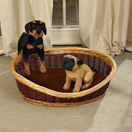 Puppy Dog/Cat/Pet Animal Basket Bed Sofa Wicker Handmade + Cushion/Pillow