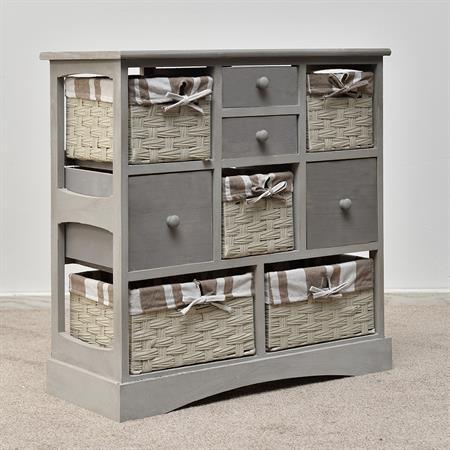 kommode mit k rben und schubf chern shabby grau. Black Bedroom Furniture Sets. Home Design Ideas