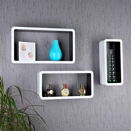 XXL Set of 3 Wall Shelf Hanging Rack Bookcase Bookshelf CD Cube Black/White