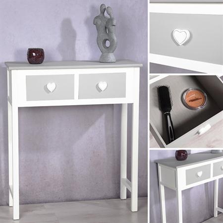 Sekretär Tisch Regal weiß/grau 2 Schubladen