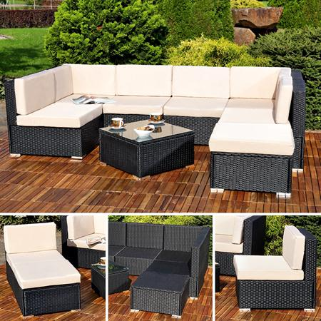 polyrattan sofa sitzgruppe lounge schwarz. Black Bedroom Furniture Sets. Home Design Ideas