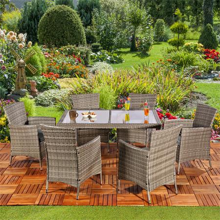Poly Rattan Sitzgruppe 6 Stühle + Tisch in Grau