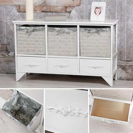 Kommode aus Holz weiß 3 Schubladen mit Verzierung