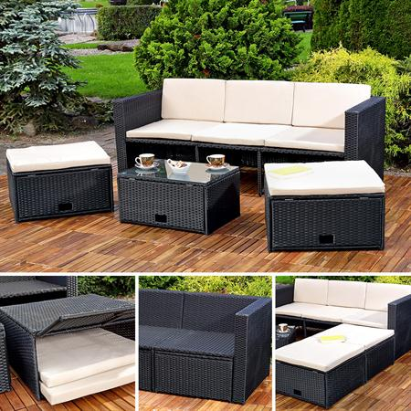 polyrattan garnitur lounge set sitzm bel schwarz. Black Bedroom Furniture Sets. Home Design Ideas
