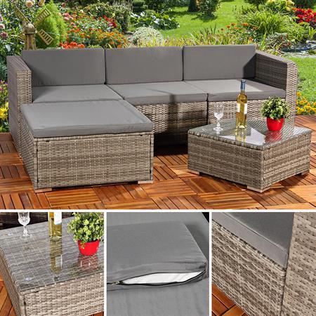 Polyrattan gartenlounge gartengarnitur sofa grau - Polyrattan gartenmobel grau ...