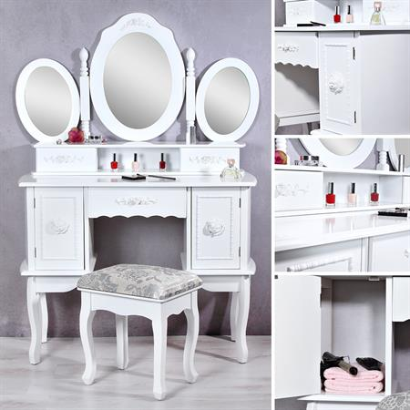 schminktisch frisiertisch mit drei spiegeln wei. Black Bedroom Furniture Sets. Home Design Ideas