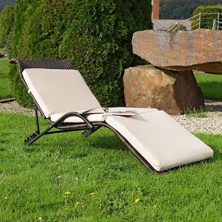 Rattan Lounger Sun Lounger Black/Brown Polyrattan Lounge Garden Lounger