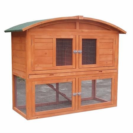 Kaninchenstall Hasenstall mit Runddach aus Holz