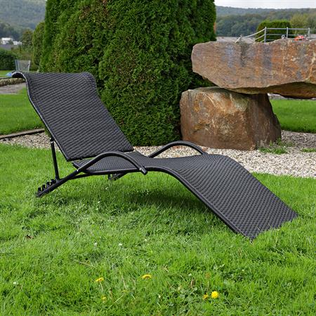 rattan gartenliege sonnenliege liege schwarz. Black Bedroom Furniture Sets. Home Design Ideas