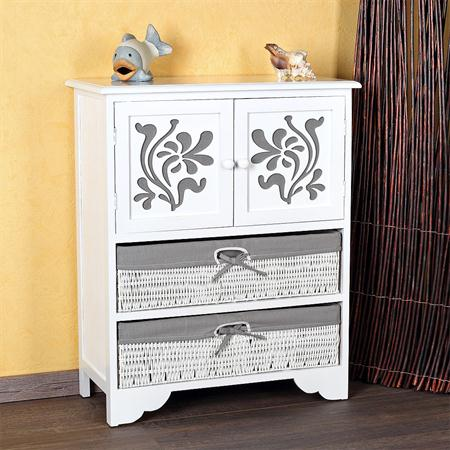 Chest of Drawers Country Style Cabinet Sideboard Bathroom Rack Wood White/Grey