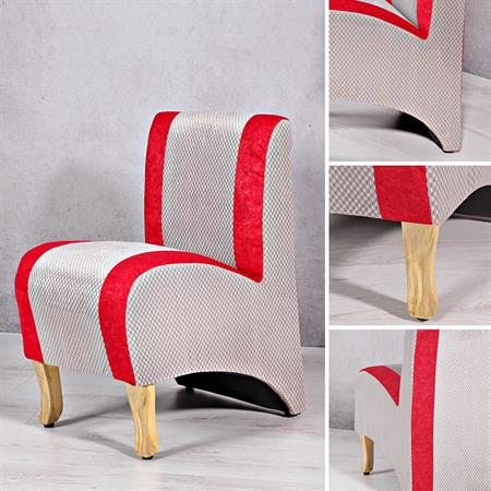 Mini Polster Sessel Stuhl - Rot  / Grau