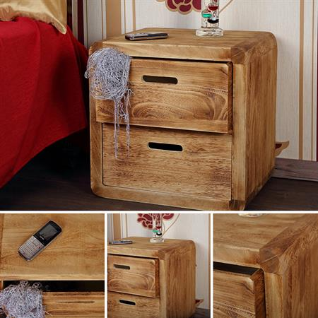 Design 3 Piece Drawer Night Stand Bedside Table Cabinet Wood Brown