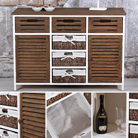 Vintage Sideboard Wandschrank - braun / weiß