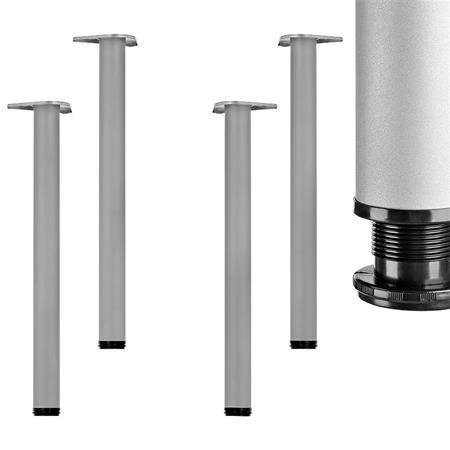 4er Set - 710mm Tischbein Tischfuß Möbelfuß silber