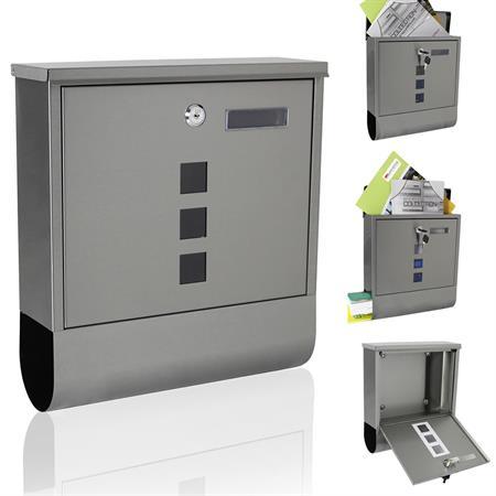 Briefkasten mit Namenschild aus Edelstahl - Silber