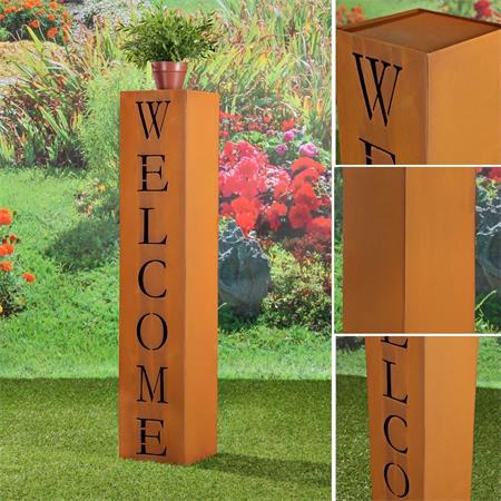 Garten Dekosäule aus Edelrost - Welcome