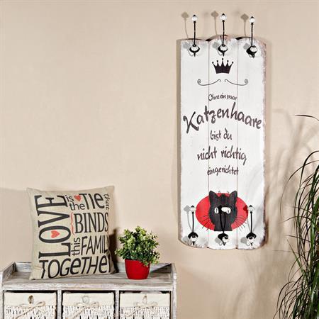 Shabby Wand Garderobe + 6 Kleiderhaken - Katze
