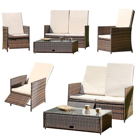 rattan sofa inkl zwei sesseln und tisch braun. Black Bedroom Furniture Sets. Home Design Ideas