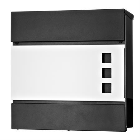 Briefkasten mit Zeitungsfach in weiß/schwarz