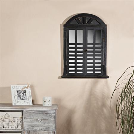Wandspiegel Spiegelfenster + rundem Bogen schwarz