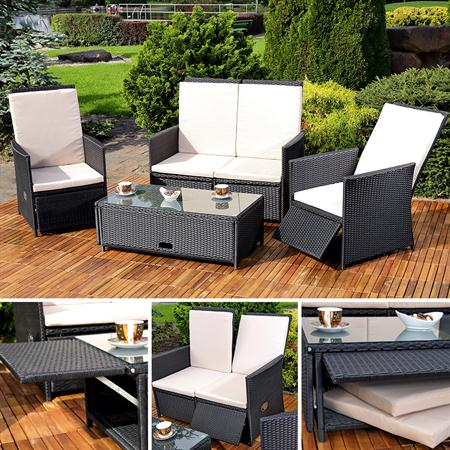 rattan sofa inkl zwei sesseln und tisch schwarz. Black Bedroom Furniture Sets. Home Design Ideas