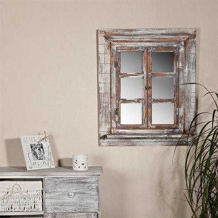 shabby spiegelfenster mit fensterl den braun. Black Bedroom Furniture Sets. Home Design Ideas