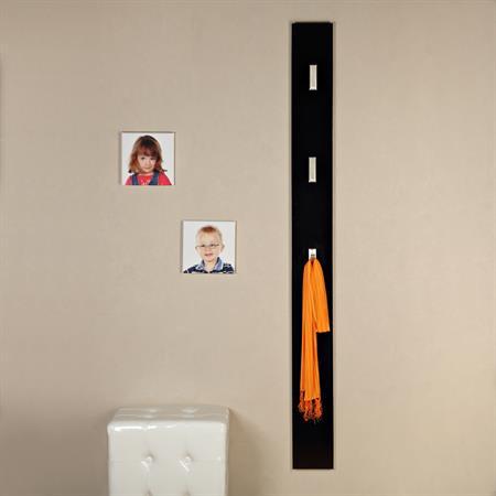 Wandgarderobe in hochglanz mit 3 Haken - schwarz