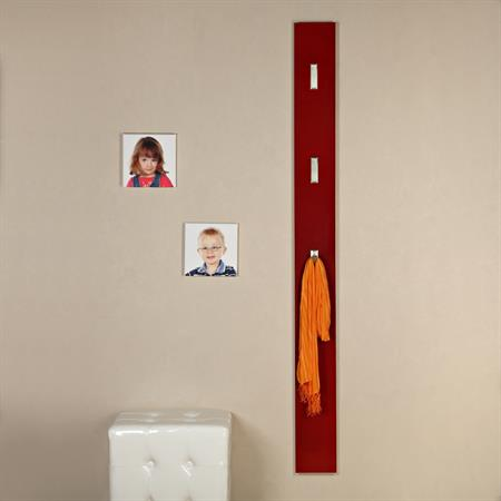 Wandgarderobe in hochglanz mit 3 Haken - rot