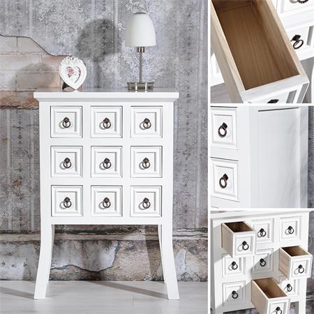 apothekerschrank kommode viele f cher wei. Black Bedroom Furniture Sets. Home Design Ideas