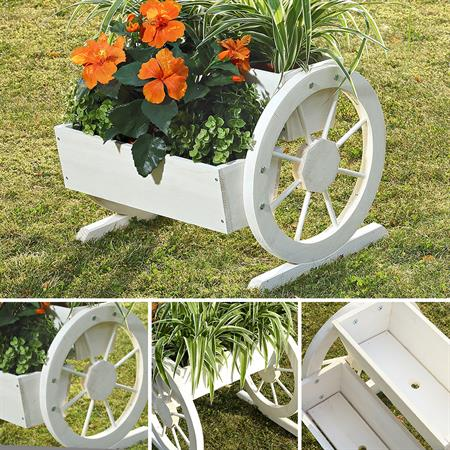 Pflanzkübel mit Wagenrädern aus Holz - Weiß
