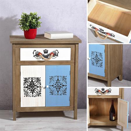 Sideboard Wandschrank shabby weiß/blau/braun/grau