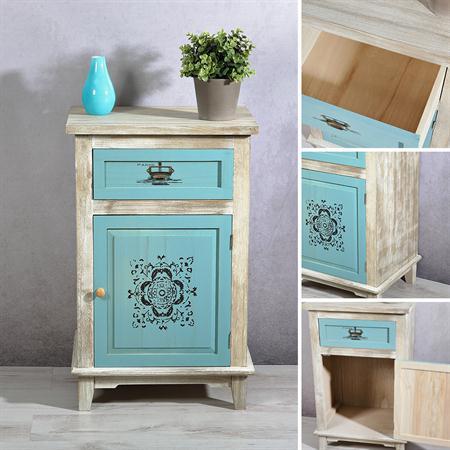 kommode mit schubfach und t r shabby blau. Black Bedroom Furniture Sets. Home Design Ideas