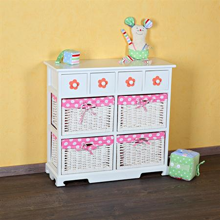 Kommode Sideboard inkl. 4 Körben weiß/rosa