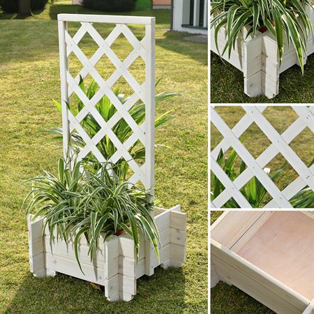Blumenkübel mit Rankgitter Holz - Weiß