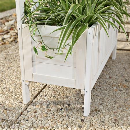 Pflanzkasten mit Rankgitter aus Holz - Weiß