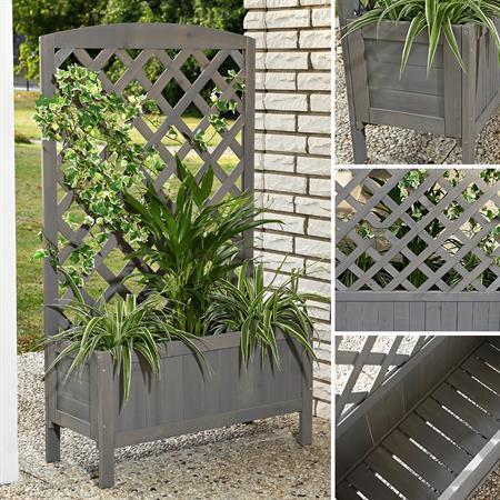 Pflanzkasten mit Rankgitter aus Holz - Grau