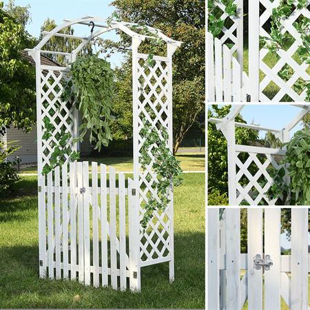 Rosenbogen mit zwei Türen aus Holz - Weiß